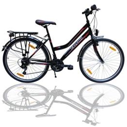 26 Zoll Fahrrad 21-Gang Shimano Schaltung mit Beleuchtung nach STVO Schwarz Doppelrahmen -