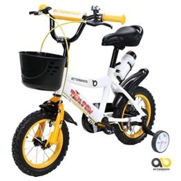 Actionbikes Kinderfahrrad Timson ab 3 Jahren 12 Zoll Gelb Kinderrad Kinder Mädchen Jungen Fahrrad -