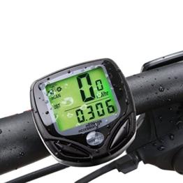AllThingsAccessory® Neu 2016 Schnurloser Wasserdichter LCD Fahrradcomputer Tacho Geschwindigkeitsmesser Kilometerzähler - Multifunktional: Geschwindigkeitsvergleich & Durchschnittliche Geschwindigkeit & Maximale Geschwindigkeit & Relativgeschwindigkeit & Fahrzeit & Tagesdistanz & Gesamtdistanz (mit neuen, verbesserten Funktionen) -