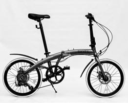"ALU Klapprad 20"" Faltrad Fahrrad 8 Gang Shimano Scheibenbremsen grau s-matt Folding Bike -"