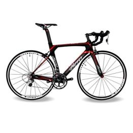 BEIOU® 2016 700C Rennrad Shimano 105 Bike 5800 11S Rennrad T800-M40 Carbon Aero-Rahmen Ultra-light 18.3lbs CB013A-2 (Matte Black&Red, 560mm) -