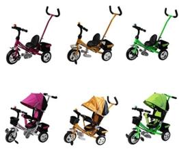 """Clamaro Kinder Dreirad """"Roadking"""" inkl. Schiebestange, Klingel und klappbaren Fußstützen, Kinderdreirad mit Hartgummibereifung und Chromfelgen - Pink -"""