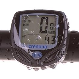 Crenova Wasserdichtes Wireless Fahradcomputer Fahrrad Odometer Speedometer mit automatischer Weckfunktion und LCD Rücklicht -
