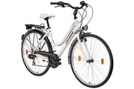 Damenfahrrad 28 Zoll Hillside Florida in weiß Stadtrad City Bike Citybike 21 Gang Shimano Tourney Schaltung Beleuchtung Gepäckträger Seitenständer Trekkingrad -