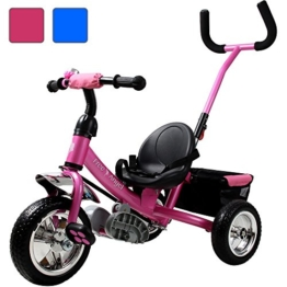 Dreirad aus Metall mit abnehmbarer Schubstange Sicherheitsgurt Kinderdreirad Schiebestange Free Angel Pink -
