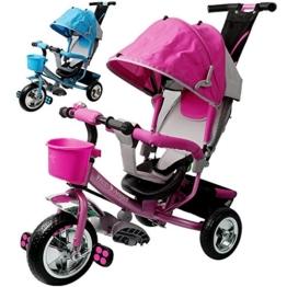 Dreirad aus Metall mit abnehmbarer Schubstange Sonnendach Kinderdreirad Schiebestange Raceline Blau -