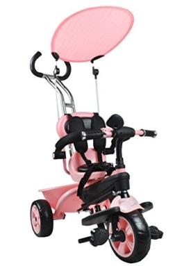 Dreirad Kinder Driver Sonnendach 3-Rad Lenkstange Schieber Fahrrad 3 Farben #2540, Farbe:Rosa -