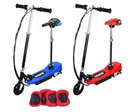 Elektroroller E-scooter Electro Scooter Driveboard 120W 18km/H Sitz Sattel #1874, Farbe:Blau -