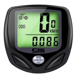 GHB Fahrradcomputer Drahtloser Speedometer Wasserdichter Kilometerzähler mit LCD Display Multifunktional (Schwarz) -