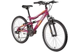 Kinderfahrrad 24 Zoll Hillside Vegas 2.0 in pink Mountainbike Fahrrad MTB 21 Gang Shimano Tourney Schaltung Seitenständer, Federung von & hinten Fully -