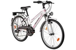 Kinderfahrrad für Mädchen 24 Zoll Hillside Miami in weiß MTB Stadtfahrrad Fahrrad City-Bike Miami Federung vorn, Gepäckträger, Seitenständer, 21 Gang Schaltung -