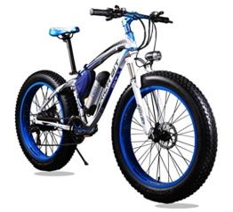 KINGTTU® Elektrofahrräder Mountainbikes Cruiser Mens -Fahrrad Weiß Blau Strand-Fat Tire-Fahrrad Shimano 21-Geschwindigkeiten Fat Tire 4,0 Zoll Federgabel Richbit RT-012 neu aktualisiert -