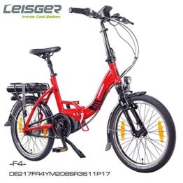 "Leisger ® F4 20"" Zoll Elektrofahrrad, E-Faltrad,Klappard, E-Bike, Pedelec, 36V 250W Li-Ion Akku mit 11Ah PANASONIC Zellen, Bafang MAX Display & Mittelmotor in glänzend rot -"