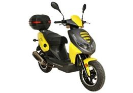 Motorroller Fighter Sport 25 Mofa gelb mit Topcase 1,8 KW / 2,4 PS / AC Luftgekühlt / Alufelgen / hydraulische Teleskopgabel / Gepäckträger / Scheibenbremse -