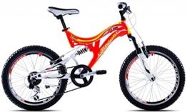 Mountainbike 20 Zoll Fullsuspension Capriolo CTX200 weiß/orange - 6 Gang Shimano -