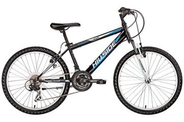 Mountainbike 24 Zoll für Kinder Hillside Yava in schwarz Kinderfahrrad Fahrrad MTB 21 Gang Shimano Tourney Seitenständer, Federung vorn -