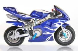 Pocket Bike PS77 49cc, Kinderbike, Rennbike, Dirtbike, Mnibike, Schwarz-Blau-Weiß -
