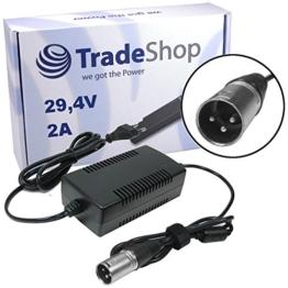 Trade-Shop Netzteil Ladegerät Ladekabel 29,4V 2A für 24V Akkus mit 18,5mm 3pin XLR Stecker ersetzt HP1202L2 für Elektrofahrrad e-Bike Akkus von Prophete Alu-Rex City-Star Aldi Praktiker Hagebaumarkt Netto -
