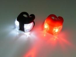 1 Paar LED Licht sehr hell Fahrrad LED FAHRRADLAMPE-Mount an Gabel Lenker Sattelstütze rot und WEIßLICHT-Frosch -