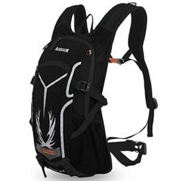 Aodoor 18L Wasserdichte Wanderrucksäcke,Leichter Rucksack für Herren Damen Fahrrad Reise Backpacks Outdoor Wanderrucksäcke Trekking Camping Rucksäcke Rucksack (Schwarz) -
