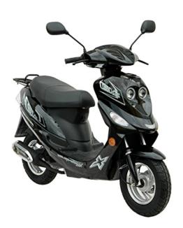 City Roller 4-Takter GMX 550 Mofa ohne Führerschein wenn vor 1.4.1965 geboren Moped 25 km h / Mofaroller Schwarz 2,4 KW / 3,3 PS / Luftgekühlt / Alufelgen / Gepäckträger / Scheibenbremse / Motorroller Teleskopgabel Hydraulisch / Scooter ab 15 Jahren -