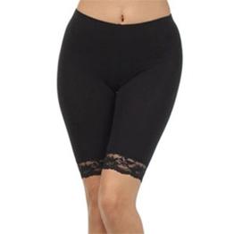 Damen Baumwoll-Lycra-Stretch (ref: 2195 geschnürt) trimmen oberhalb des Knies Radhose aktiv Legging mit Spitze (x-große(x-Large), Schwarz(Black)) -