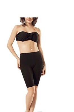 Damen Radlerhose- Leggings kurze- Unterhose- Short-90% Baumwolle (N-252) (S-M, schwarz) -