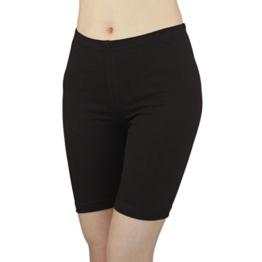 Damen Radlerhose Sport Shorts Hotpants Baumwolle Kurze Leggings oberhalb des Knies , Farbe: Schwarz, Größe: 40-42 -