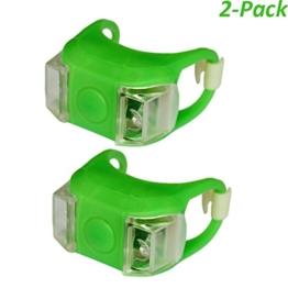 Heemepink 2 Stück wasserdichte LED Fahrradlicht Bright Eyes Silikon-Fahrrad-LED-Licht Berg am Gabel Lenker Sattelstütze Frosch-Licht Grün -