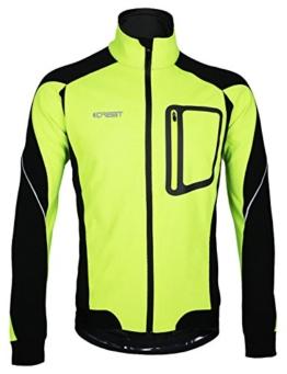 iCreat Herren Jacke Air Jacket Winddichte Lauf- Fahrradjacke MTB Mountainbike Jacket Visible reflektierend, Fleece Warm Jacket für Herbst, Grün Gr.M -