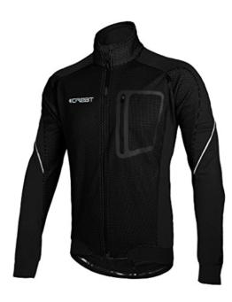 iCreat Herren Jacke Air Jacket Winddichte Lauf- Fahrradjacke MTB Mountainbike Jacket Visible reflektierend, Fleece Warm Jacket für Herbst, Schwarz Gr.XXL -