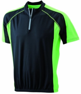 James & Nicholson Herren Kurzarm Bike T-shirt schwarz (black/lime-green) X-Large -