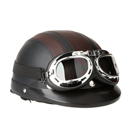 KKmoon Motorrad Roller Open Face halbes Leder-Helm mit Visier UVschutzbrille Retro Vintage Style 54-60cm -