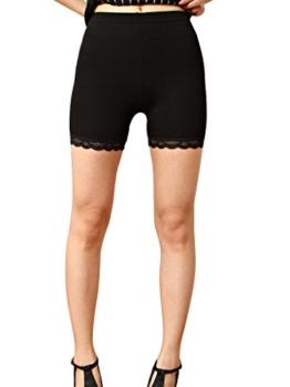 Liang Rou Damen Elasthan kurz Leggings mit Spitzenbesatz Farbe Schwarz L -