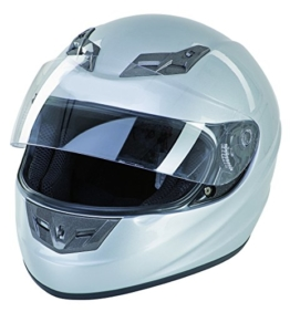 Motorradhelm Integralhelm Motorad Roller Quad ECE 22.05 vers. Farben/Größen (L, Silber) -