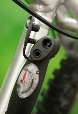 Profex Alu-Minipumpe mit Manometer, Doppelhub+Doppelkopf -