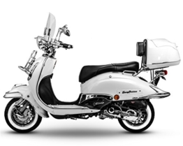 Retro Roller Easy Cruiser Chrom 25 km/h Mofa 50 ccm perlweiß Motorroller Scooter Moped Easycruiser weiß -