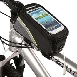 Roswheel Radfahren Mountain Bike Fahrradrahmen Tasche Rahmentasche Oberrohrtasche Handytasche mit transparentem PVC-Fenster für Handys Größe S / M / L (Green, L) -