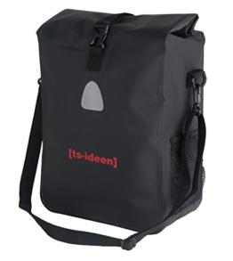 ts-ideen Radtasche Fahrradtasche Gepäckträger große Tasche Aqua Back Case Einzeltasche wasserdichte Rad Packtasche in schwarz -