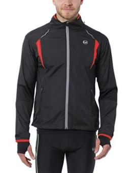 Ultrasport Herren Running-/Bikingjacke Stretch Delight, Schwarz/Rot, L, 40022 -