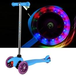 Arshiner Kinderroller Dreiradroller klappbar Sicherheit T-Lenker mit Bremse und Licht Umweltschutz Blau Kinderscooter Scooter Kickboard Tretroller -