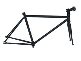 Single Speed Rahmen mit Gabel Vorbau und Tretlager schwarz -