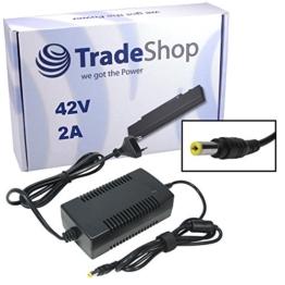 Trade-Shop Netzteil Ladegerät Ladekabel 42V 2A für 36V Akkus mit 5,5mm x 2,1mm Rundstecker für E-Bike Elektrofahrrad Pedelec Elektro Fahrrad Akkus zum Aufladen -