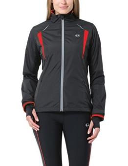 Ultrasport Damen Running-/Bikingjacke Stretch Delight, Schwarz/Rot, M, 40027 -