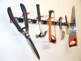 BRUNS Alu-Gerätehalter-Set | inkl. 6 Geräte-Haltern und Führungs-Schiene | Länge: 1000 mm -