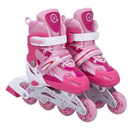 Kinderinliner Inlineskates - Größenverstellbar über vier Größen - Leuchtende Frontrollen - Pink - Gr. L (39-42) -