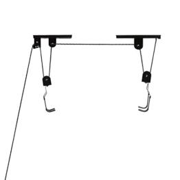 Pellor Indoor Gear Up Bike-Lift Produkte Anti-Sturz-Fahrrad-Top Suspending Parkplatz Rackhalterung Aufzug für Garage mit Max Belastungsgewicht 40 kg (Schwarz) -