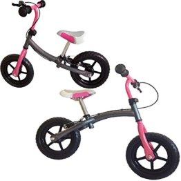 Kinder Laufrad, Doppelfunktionsrahmen, mit Handbremse, ca. 30,3cm (12 Zoll), silbergrau-pink, mitwachsendes Lernlaufrad, für Kinder ab 2 Jahren -