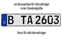 1 Fahrradträger Kennzeichen | DIN-zertifiziert & reflektierend -